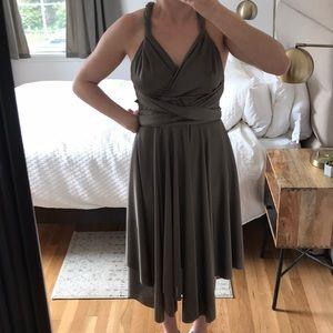 Dresses & Skirts - Satin wrap dress in dark grey metallic